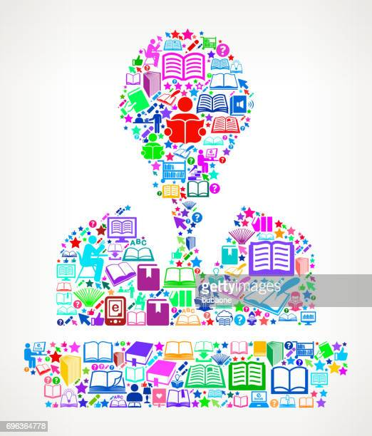 Speaking Man Reading Books and Education Vector Icon Background