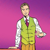 Speaking man. The man at the podium speaks. Handsome young businessman holding up his hand and giving advice. Attractive manager speaking. Concept idea of advertisement and promo. Halftone background