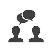 Speaking people black icon on white background