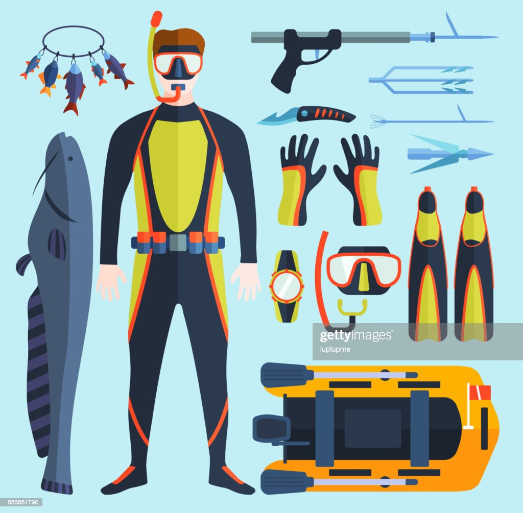 Spearfishing vector set