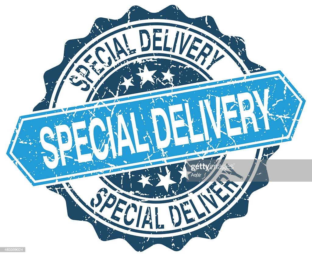 special delivery blue round grunge stamp on white