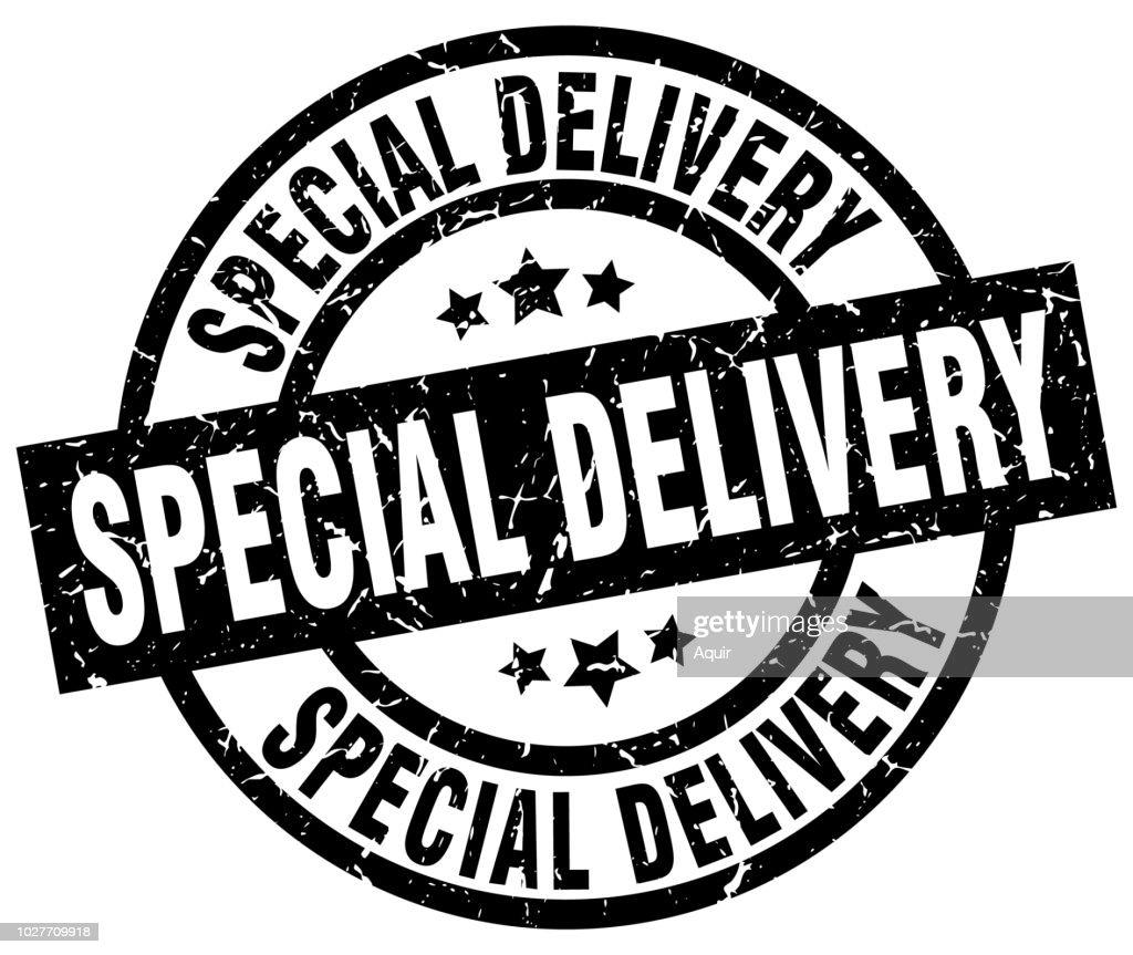 special delivery round grunge black stamp