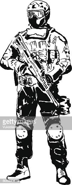 special forces soldier. - special forces stock illustrations, clip art, cartoons, & icons