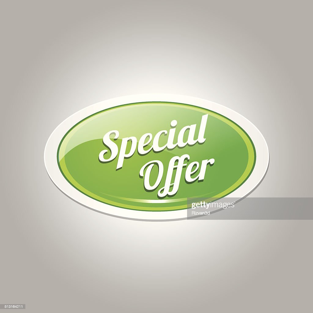 Special Offer Green Vector Icon Button