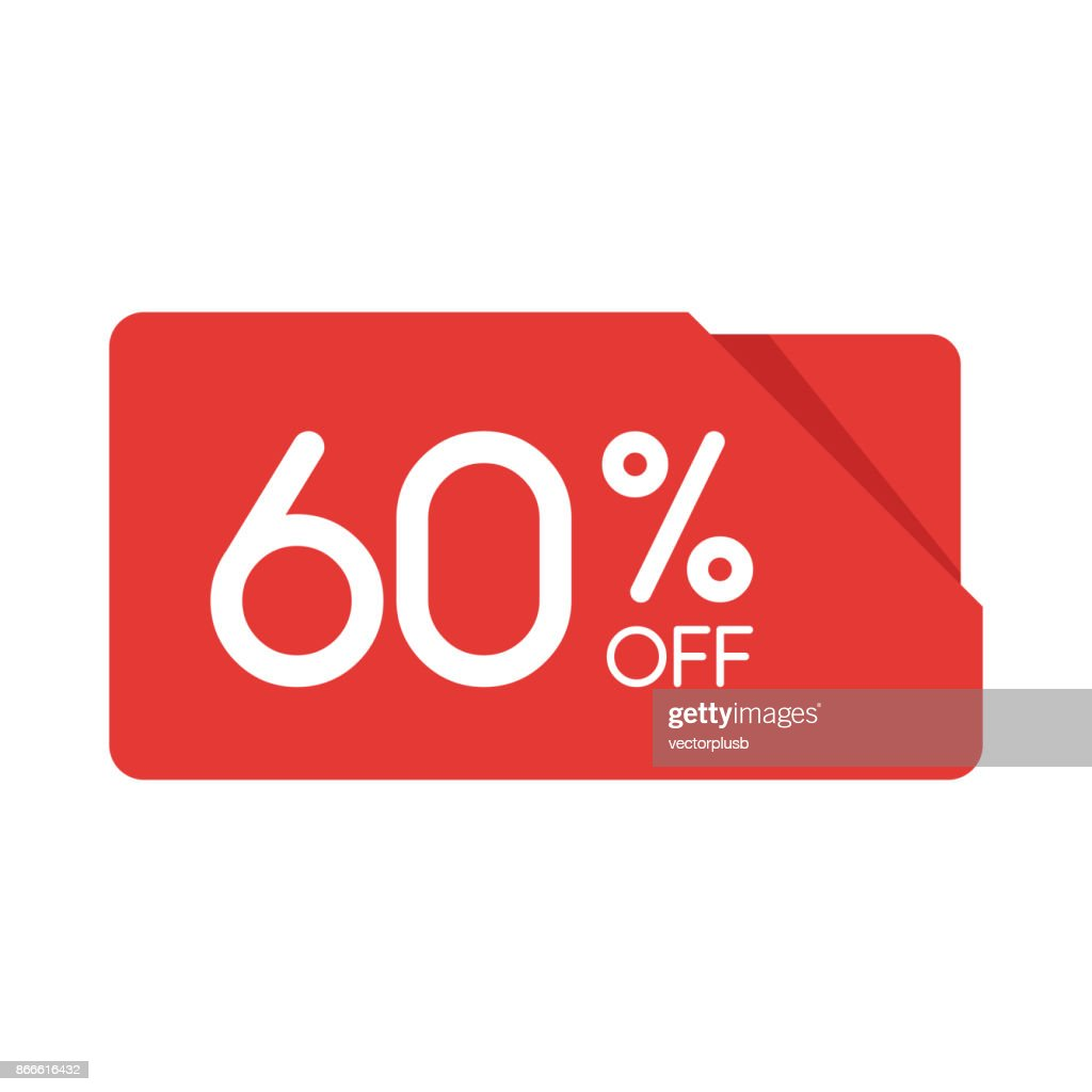 Special offer sale red rectangle origami tag. Discount 60 percent offer price label, symbol for advertising campaign in retail, sale promo marketing, Isolated vector illustration