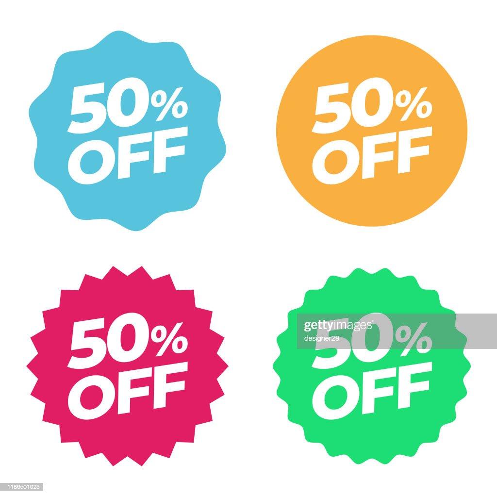 特別オファーセールタグ。割引50%オファー価格マルチカラーラベルとフラットデザイン : ストックイラストレーション