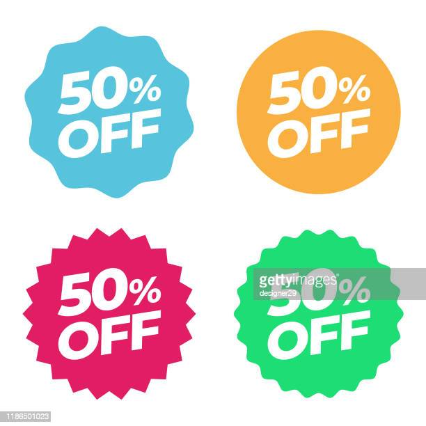 special offer sale tag. discount 50% offer price multicolor label and flat design - reduction stock illustrations