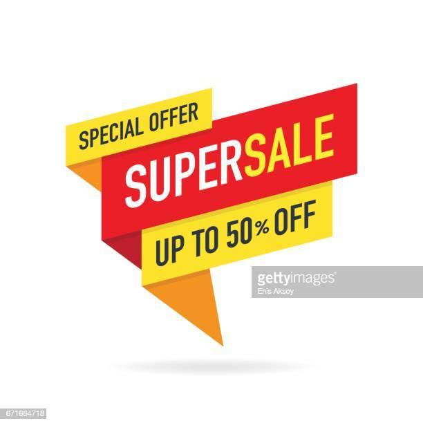 illustrazioni stock, clip art, cartoni animati e icone di tendenza di special offer super sale banner - saldi