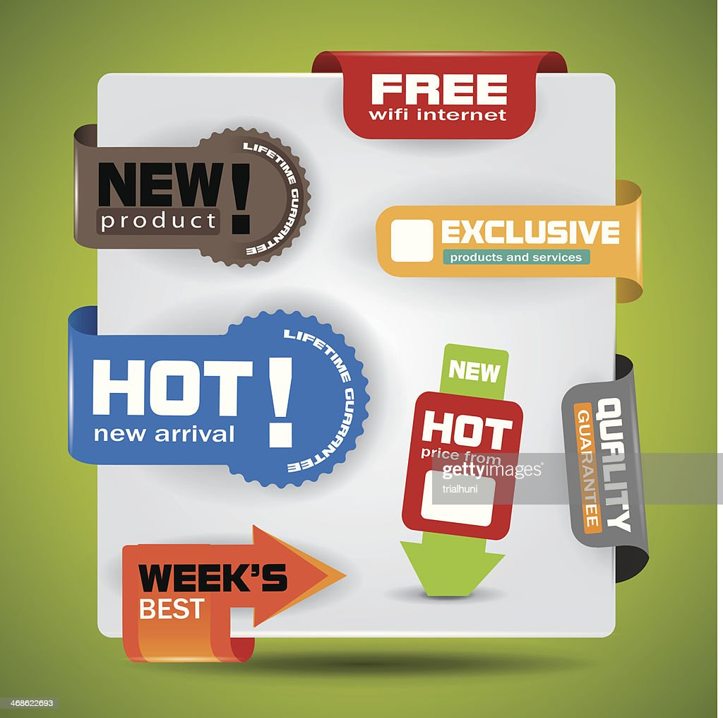 Special offer, warranty labels and stickers in vibrant color variations