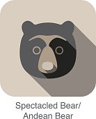 Spectacled bear face flat icon design. Animal icons series.
