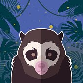 Spectacled Bear on the Jungle Background