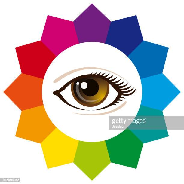 spectrum color wheel with human eye - printout stock illustrations