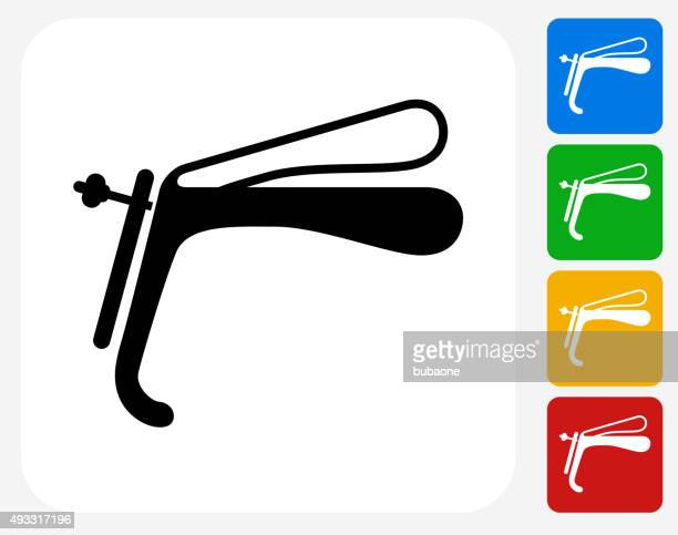 speculum icon flat graphic design - pap smear stock illustrations, clip art, cartoons, & icons