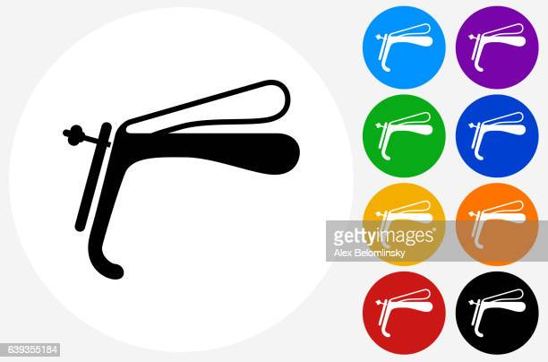 speculum icon on flat color circle buttons - menopause stock-grafiken, -clipart, -cartoons und -symbole