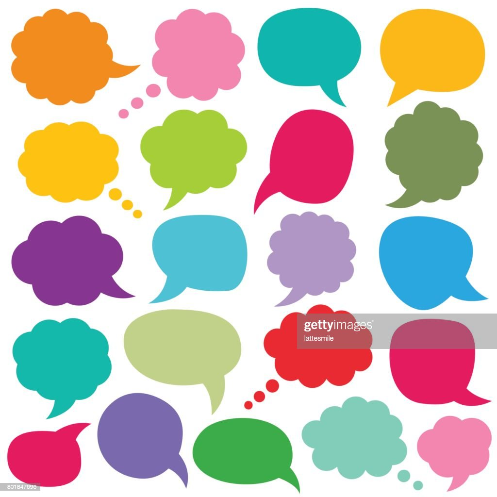 Speech and thought bubbles set