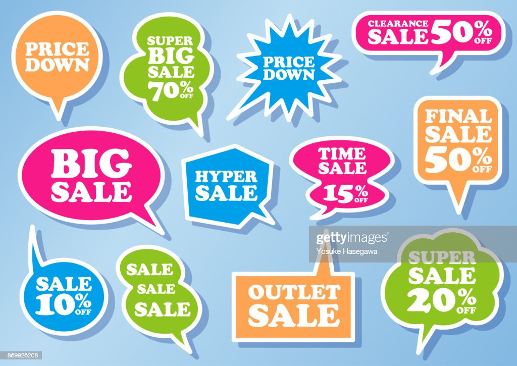 Speech Balloons set for sale, vector illustration