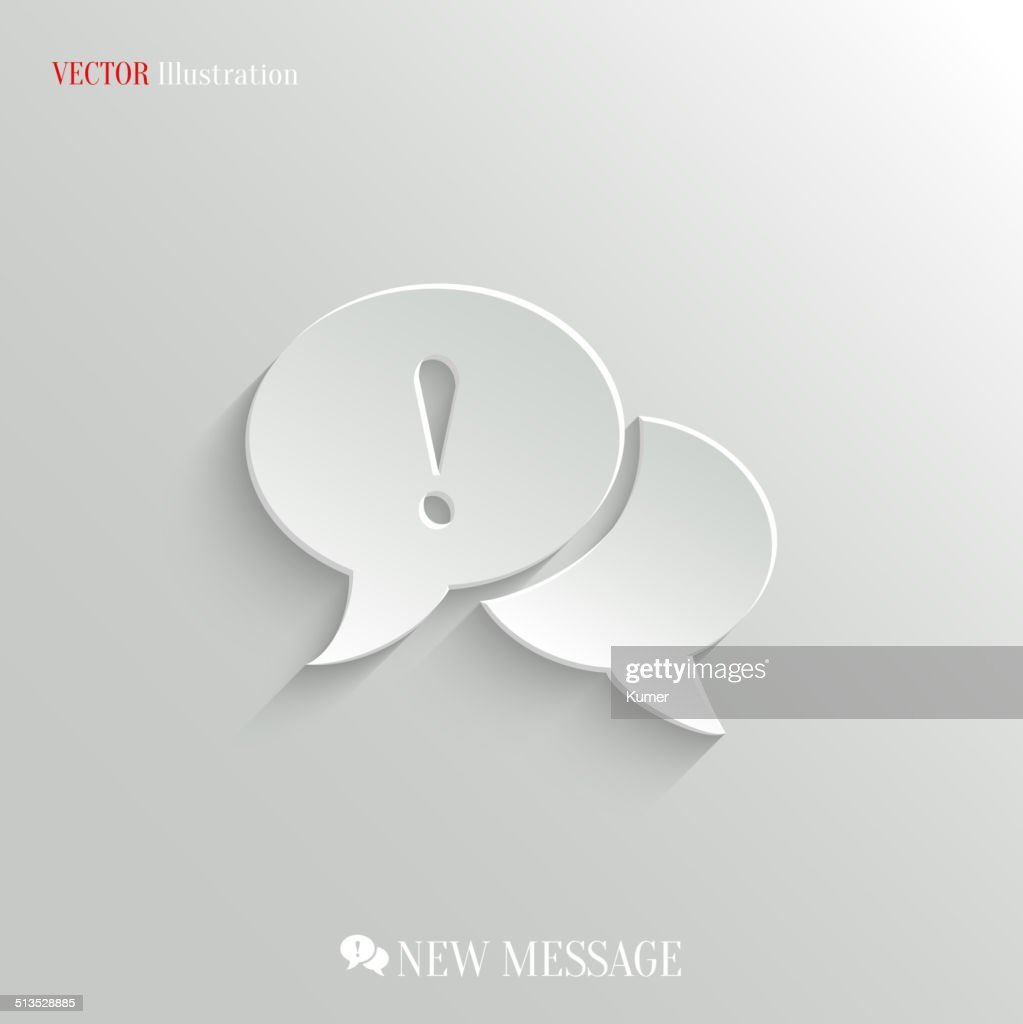 Speech bubble attention icon - vector web background