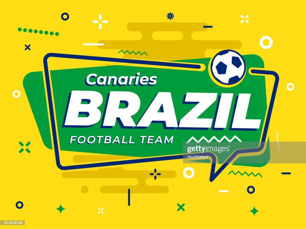 Speech Bubble BRAZIL with icon football, soccer ball. Vector Illustration.