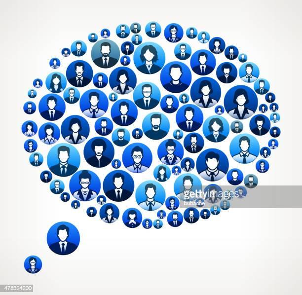 Discurso de burbujas caras de la gente de negocios, finanzas y trabajo en equipo patrón.