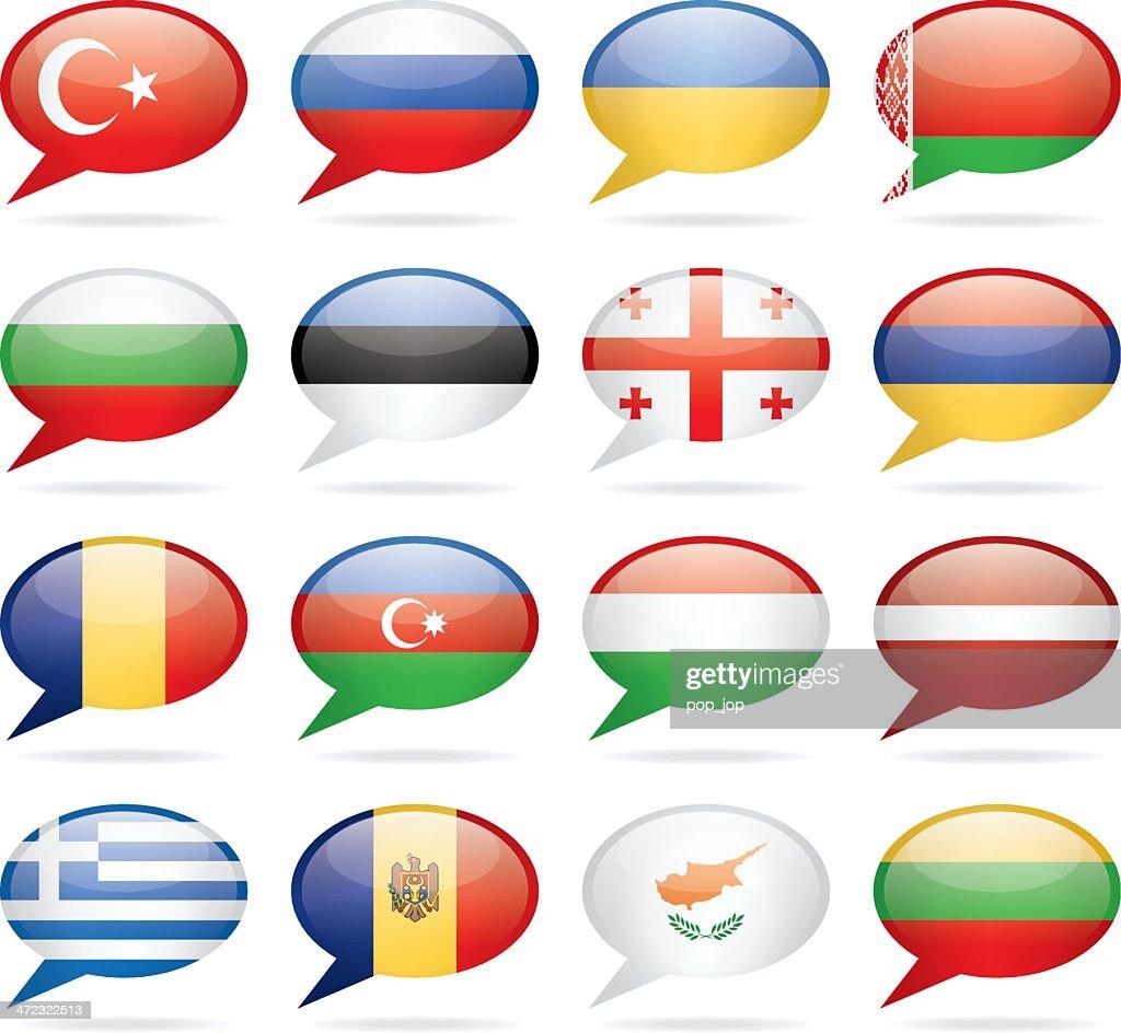 Sprechblase Osten und Südeuropa Flags : Stock-Illustration