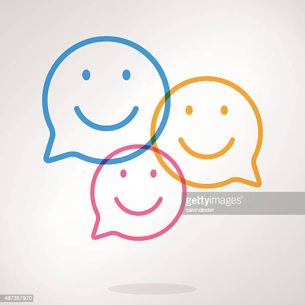 speech bubble emojis - smiling stock illustrations