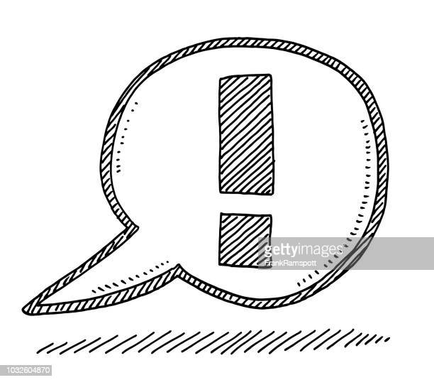 speech bubble exclamation mark drawing - concentration stock illustrations, clip art, cartoons, & icons