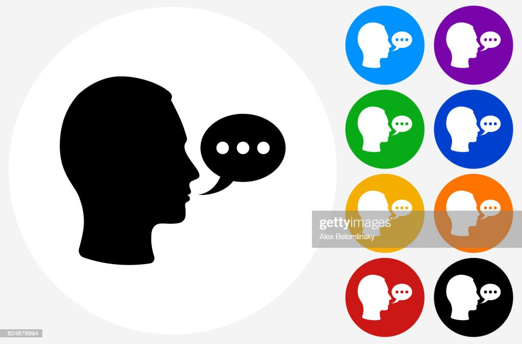 Speech bubble Face Icon on Flat Color Circle Buttons