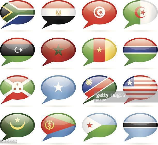 ilustrações, clipart, desenhos animados e ícones de bolha de discurso de bandeiras áfrica - bandeira sul africana