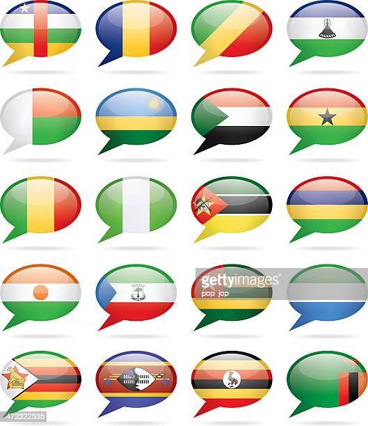 speech bubble flags - africa - ghana flag stock illustrations, clip art, cartoons, & icons