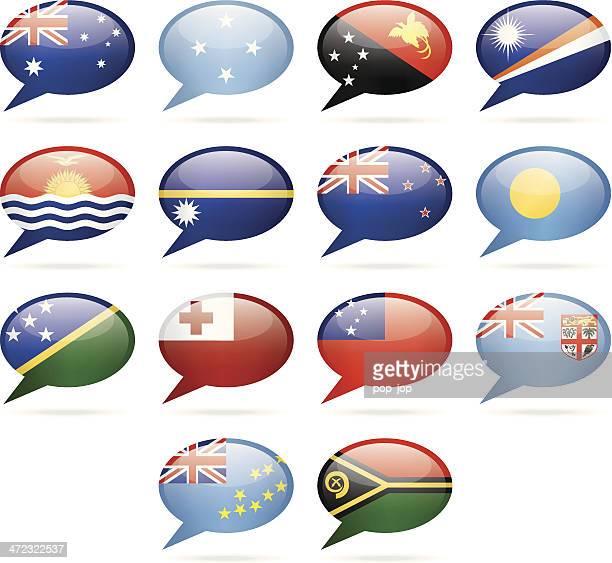 speech bubble flags - australia and oceania - samoa stock illustrations, clip art, cartoons, & icons