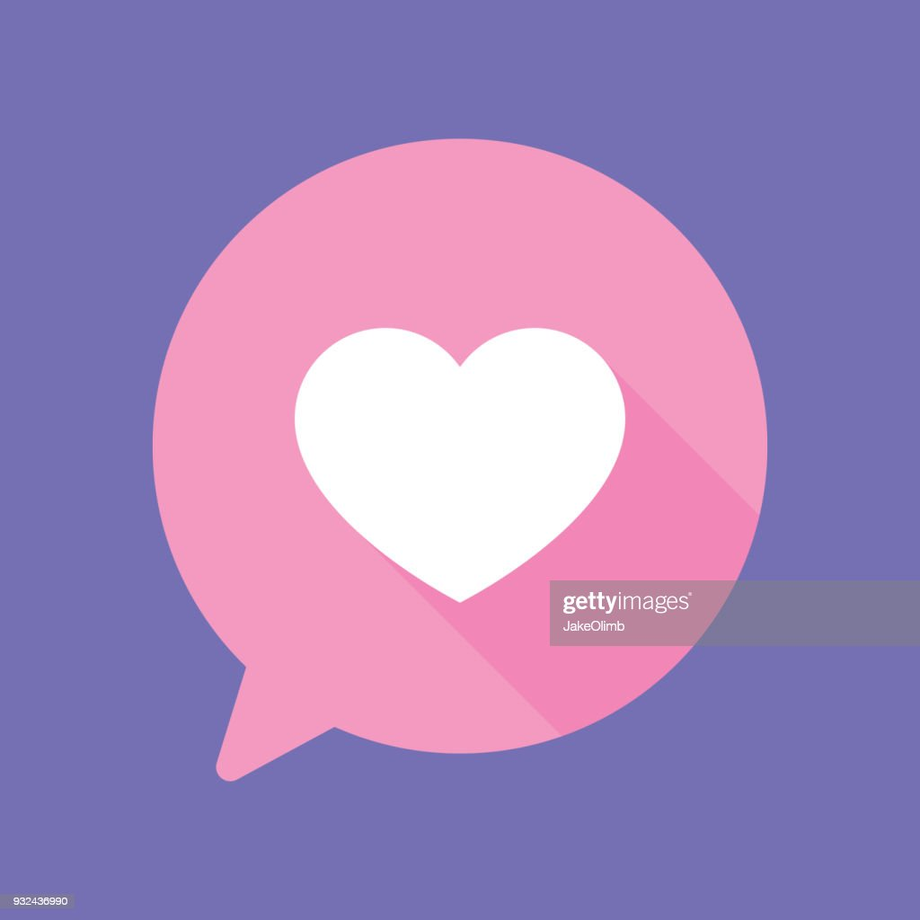 Bocadillo de diálogo de corazón plano : Ilustración de stock