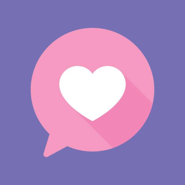 speech bubble heart flat - heart shape stock illustrations