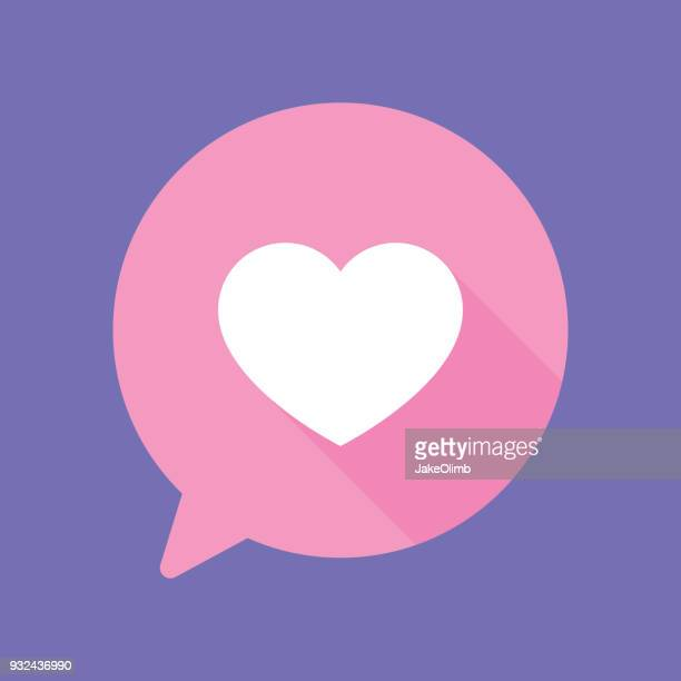 speech bubble heart flat - heart shape stock illustrations