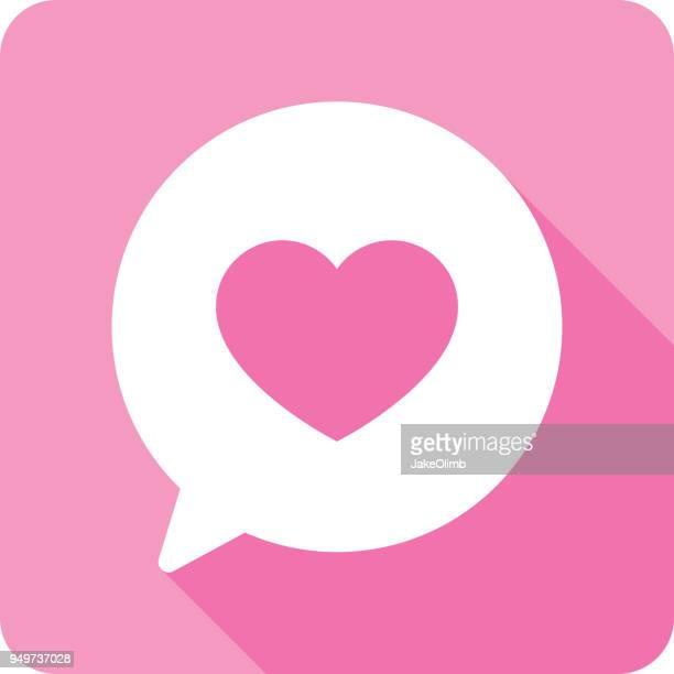 speech bubble heart silhouette - flirting stock illustrations, clip art, cartoons, & icons
