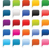 Speech bubble icon empty rounded square satin color button