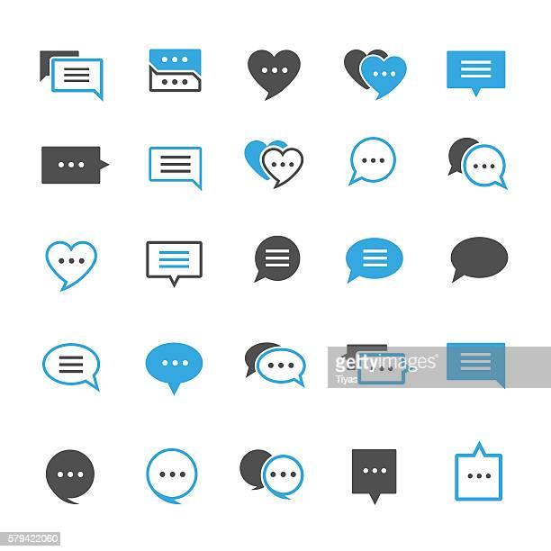 ilustrações, clipart, desenhos animados e ícones de discurso bolha conjunto de ícones - text messaging