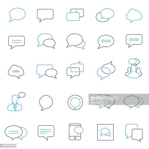 speech bubble icon set - thought bubble stock illustrations