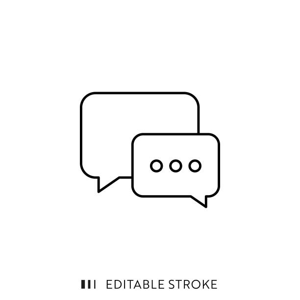 speech bubble icon with editable stroke and pixel perfect. - bubble stock illustrations