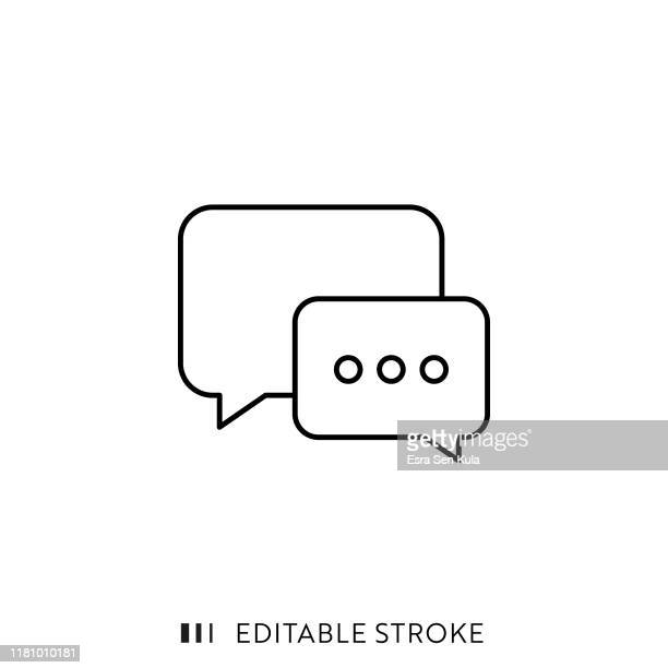 speech bubble icon with editable stroke and pixel perfect. - discussion stock illustrations