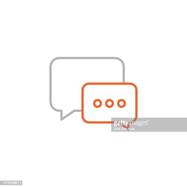 sprachblasensymbol mit bearbeitbarem strich - instant messaging stock-grafiken, -clipart, -cartoons und -symbole