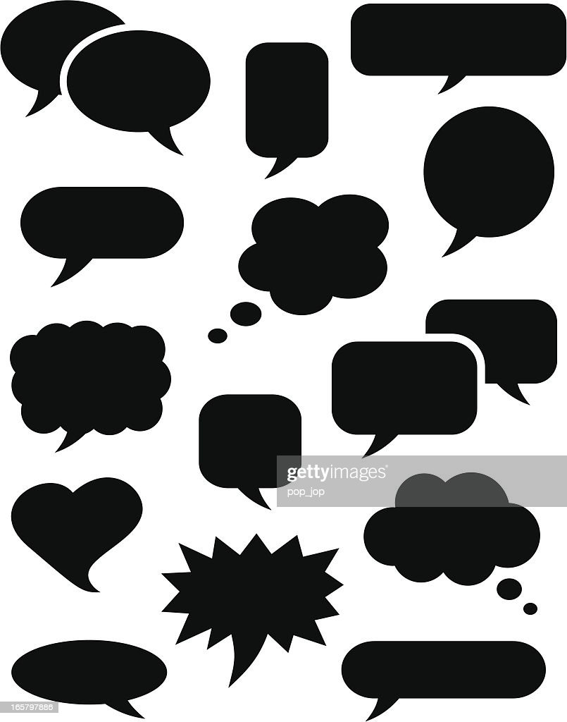 Speech bubble icons black : stock illustration