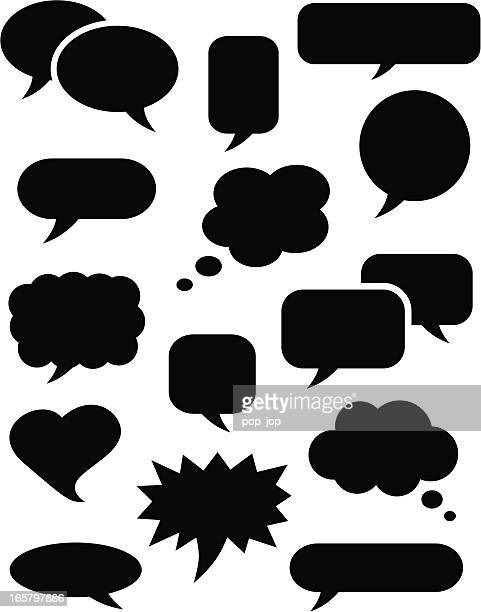 speech bubble icons black - contemplation stock illustrations, clip art, cartoons, & icons