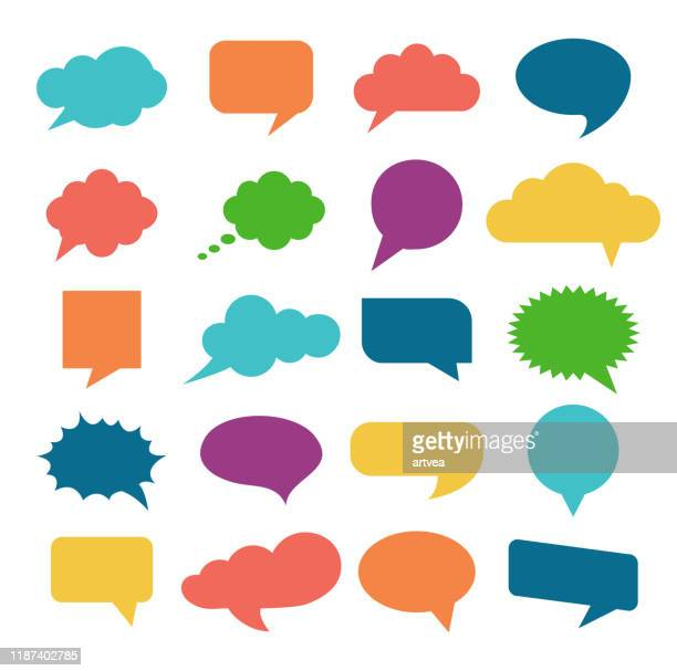 speech bubble icons set - thought bubble stock illustrations