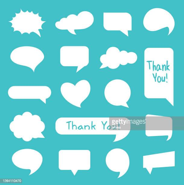 speech bubble icons set - thanks quotes stock illustrations