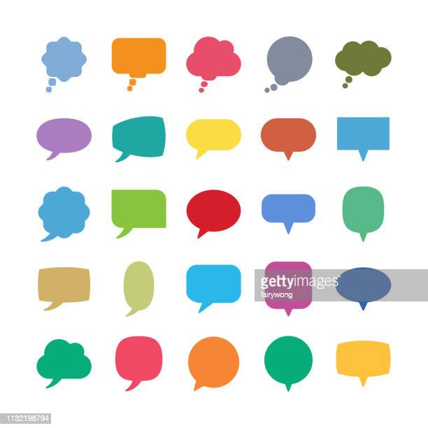 speech bubble icons - discussion stock illustrations