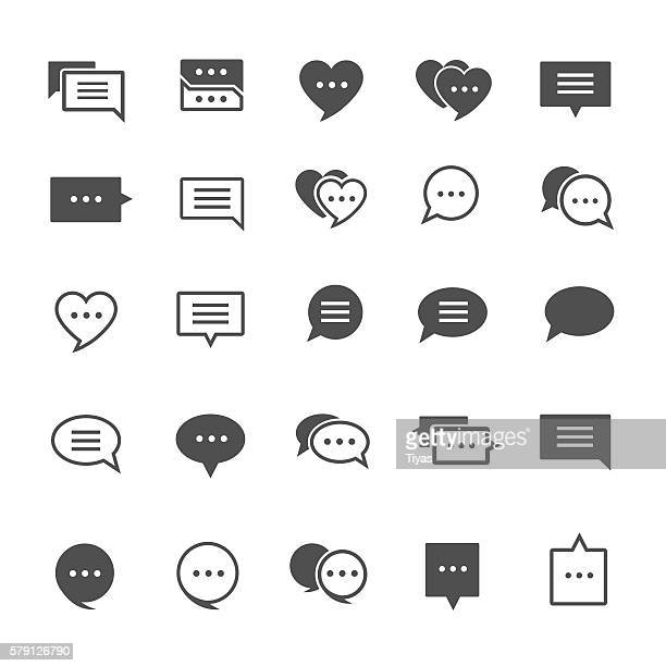 speech bubble icons - text messaging stock illustrations, clip art, cartoons, & icons
