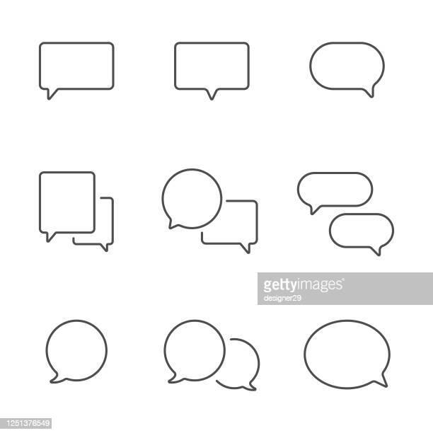 ilustrações, clipart, desenhos animados e ícones de ícone da linha de bolha de fala definir design vetorial. - discurso