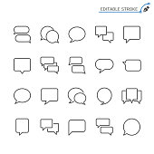 Speech bubble line icons. Editable stroke. Pixel perfect.