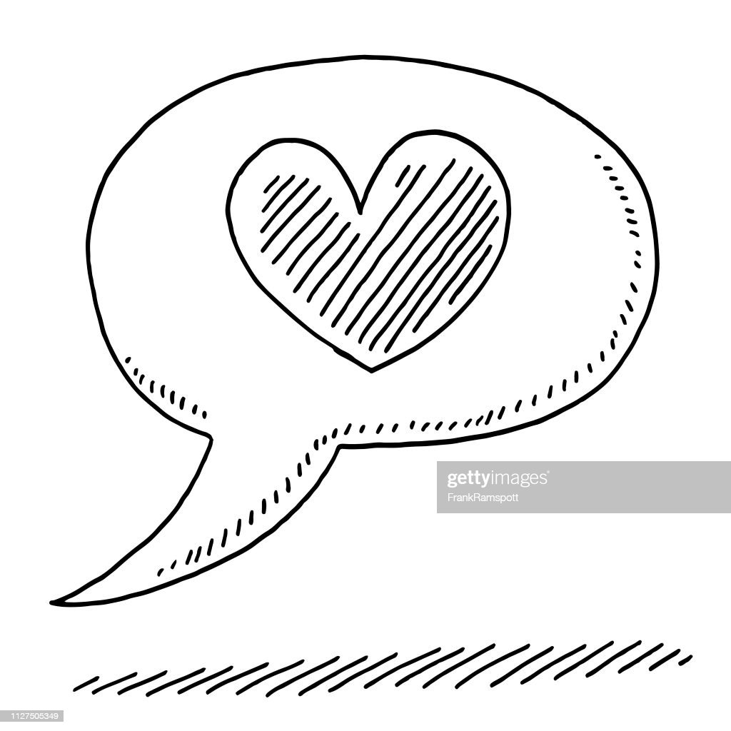 Speech Bubble Love Heart Symbol Drawing High Res Vector Graphic
