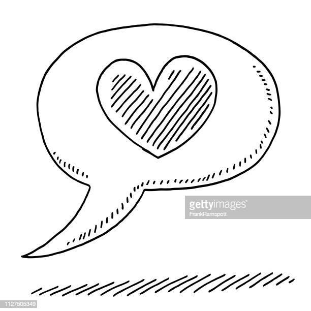 speech bubble liebe herz symbol zeichnung - frankramspott stock-grafiken, -clipart, -cartoons und -symbole